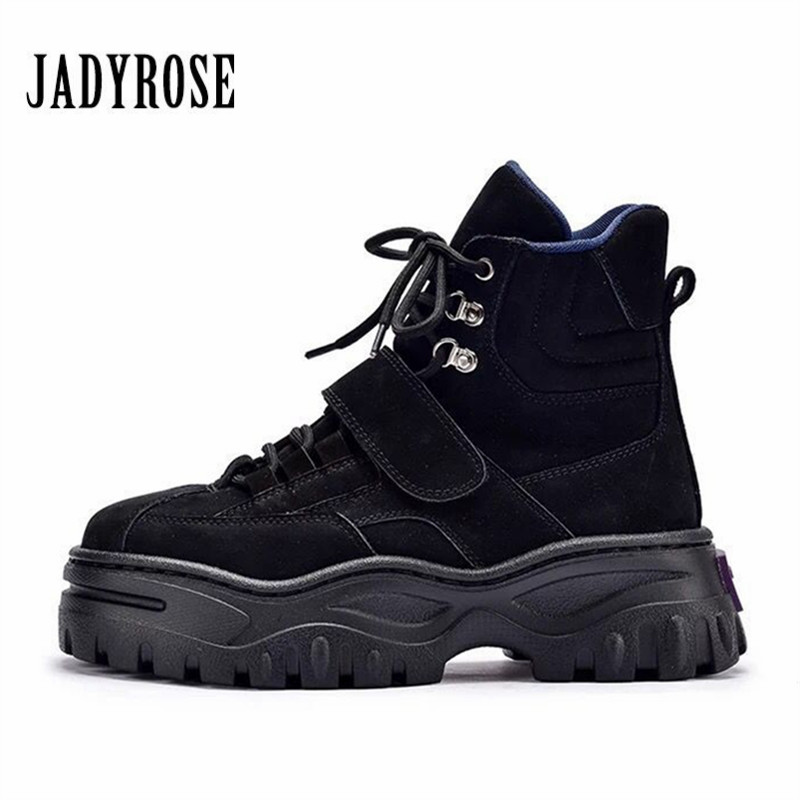 Jady Rose Punk Style Women Ankle Boots Lace Up Suede Riding Boots Female Platform Botas Mujer Flat Rubber Shoes Woman FlatsJady Rose Punk Style Women Ankle Boots Lace Up Suede Riding Boots Female Platform Botas Mujer Flat Rubber Shoes Woman Flats