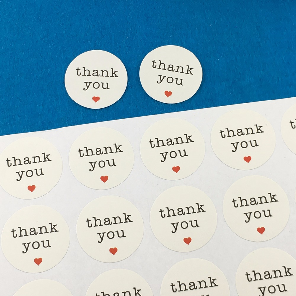 1200PCS/Lot white Paper Thank You Sticker Labels 3cm Round Stickers Self-Adhesive Sealing Labels For Gift/box/cups/cards/jewelry
