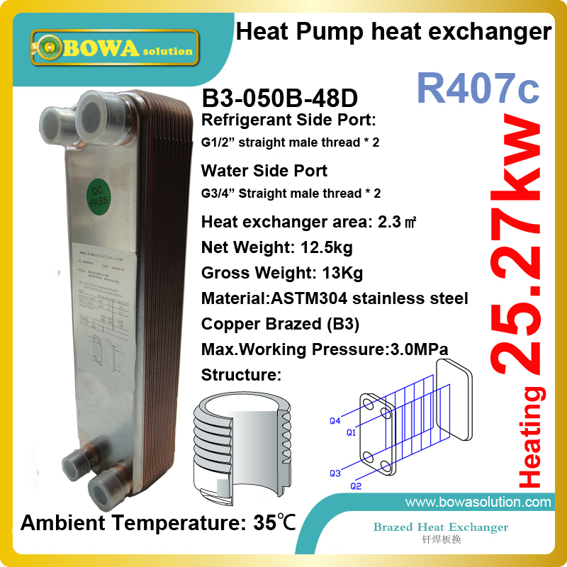 25KW condenser( heating transfer between R407c and water) is installed in air source or water source heat pump as condenser 21kw heating capacity r410a to water heat exchanger used in water source heat pump floor heating or other hydronic systems
