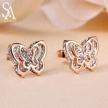 SA SILVERAGE 18K Yellow Gold Butterfly Double 3D Stud Earrings for Women AAA Zirconia Animal Earring