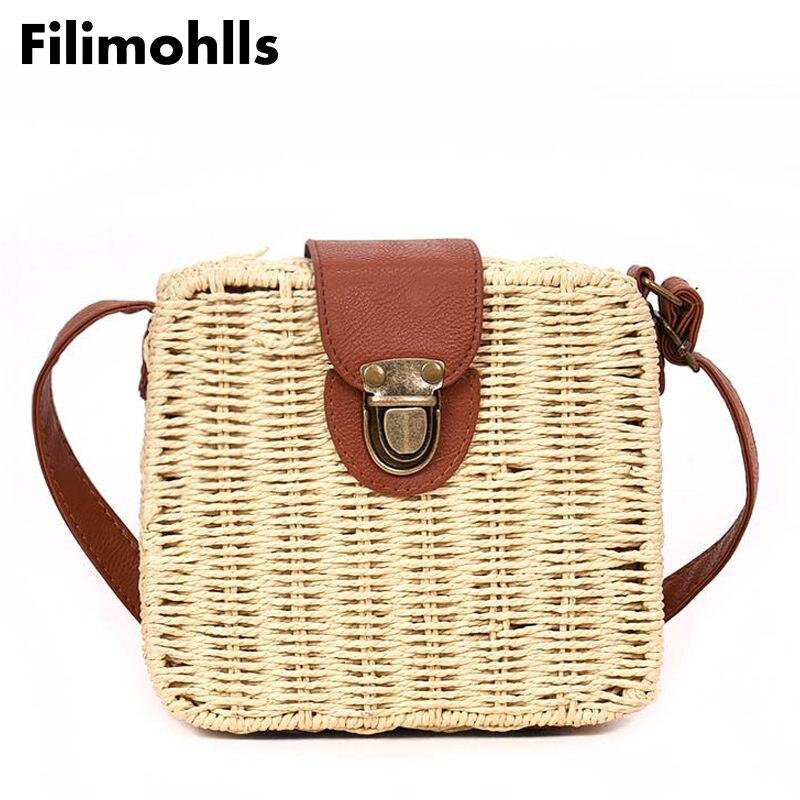 2018 shoulder bags summer bolsa women's handbags mini women messenger bags leather Square Straw ladies Crossbody Bag F-66
