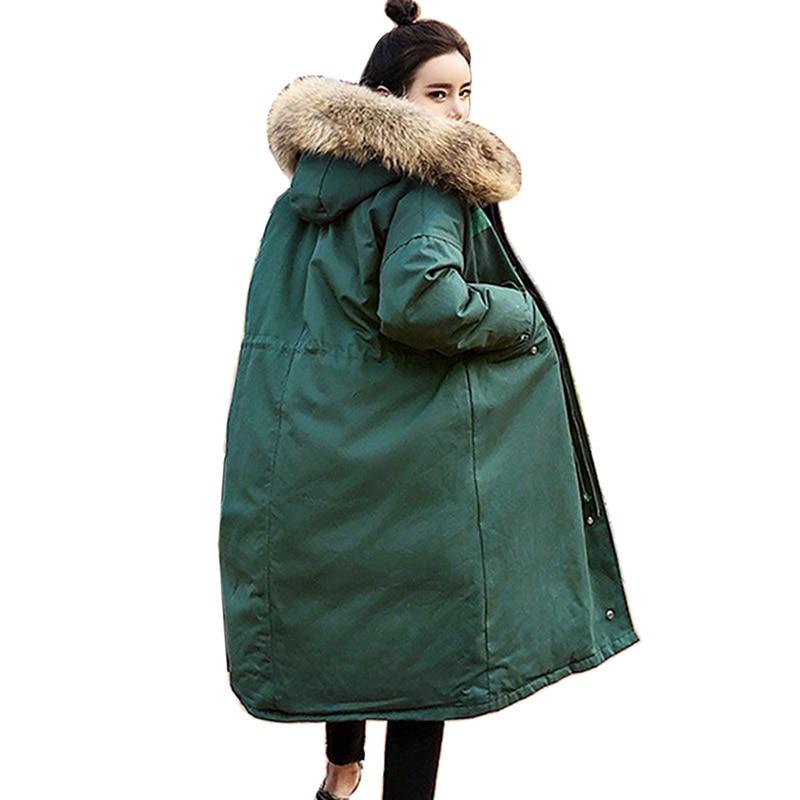 2018 New fashion Korea style women winter jacket long loose big fur with hood womens coat solid overcoat female   parka   Plus Size