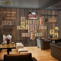 Beibehang 3D Vintage Wooden Striped Frame Painting Creative Gear Brick Wallpaper Theme West Restaurant Cafe Background