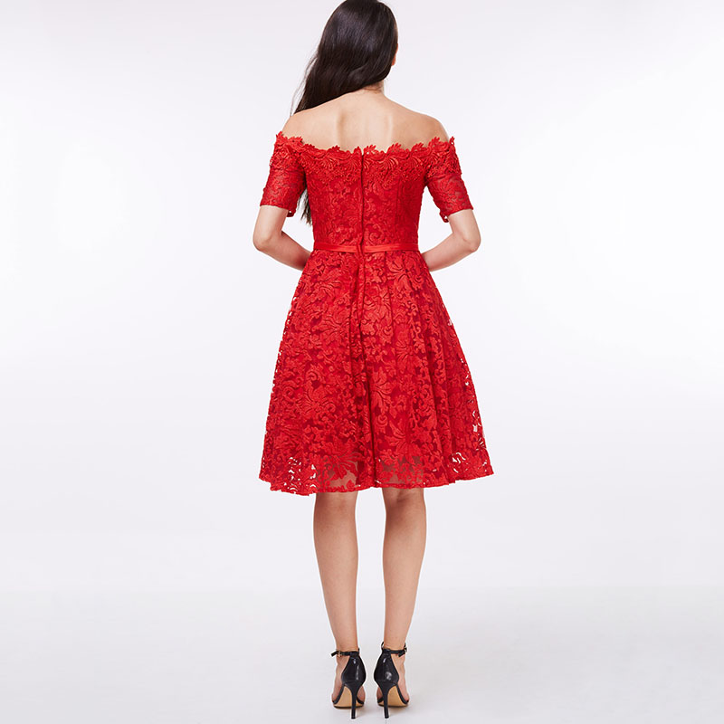 Tanpell off the shoulder cocktail dress red lace A line knee length ...