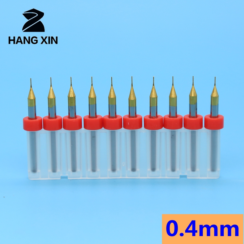 0.4mm 10PCS Titanium Coated Carbide End Milling Cutter Engraving Edge Cutter CNC Router Bits End mill for PCB Machine