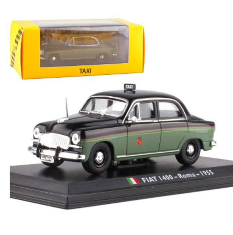 11.5CM <font><b>1</b></font>:<font><b>43</b></font> Scale Metal Alloy Green Color Classic <font><b>FIAT</b></font> 1400-ROMA 1955 Taxi Cab <font><b>Car</b></font> <font><b>Model</b></font> Diecast Vehicles Toys For Collection image