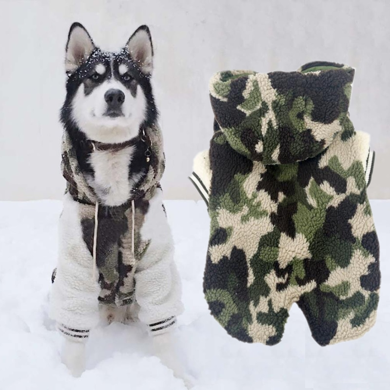 Hot Sale Autumn Winter Large Dogs Clothes Camo Warm Dog Hoodies