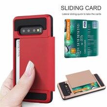 Для samsung Galaxy S10e S9 S8 Plus слайд-кошелек слот Кредитные карты PC задняя крышка для S6 S7 Край ТПУ Броня ударопрочный чехол