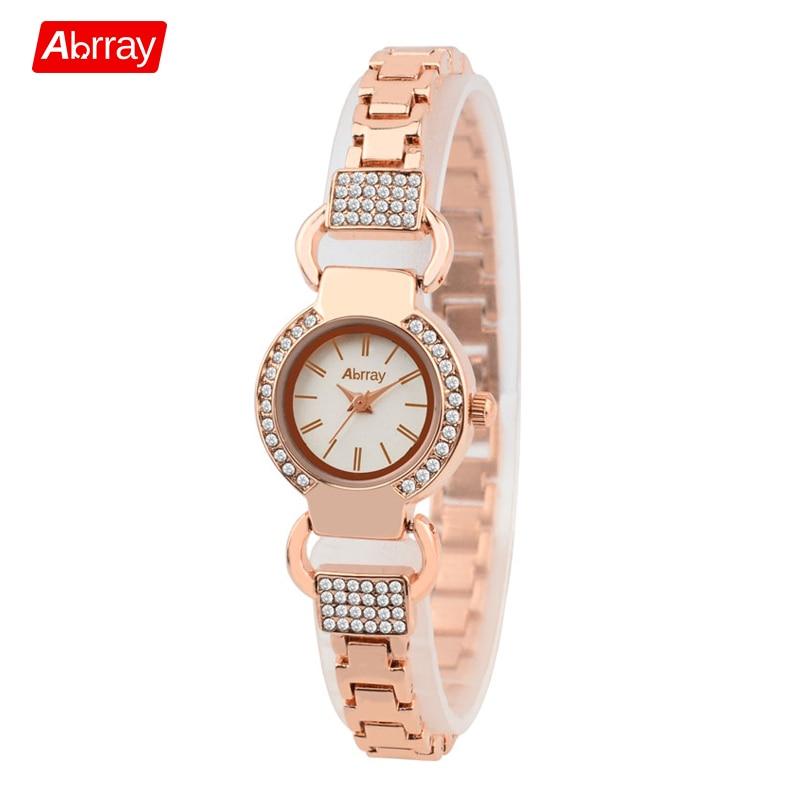 Abrray Ladies Luxury Rhinestones Rose Gold Bracelet Watch 3ATM - Moteriški laikrodžiai