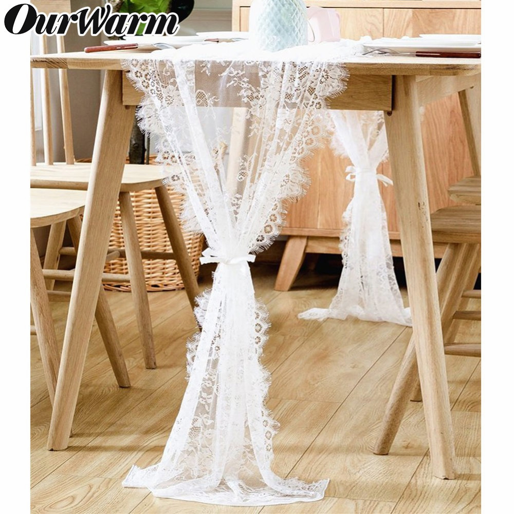OurWarm White Lace Table Runner Home Textile Boho Theme <font><b>Party</b></font> Wedding Decoration Floral Pattern Vintage Look 35x300cm/<font><b>70</b></font>*300cm image