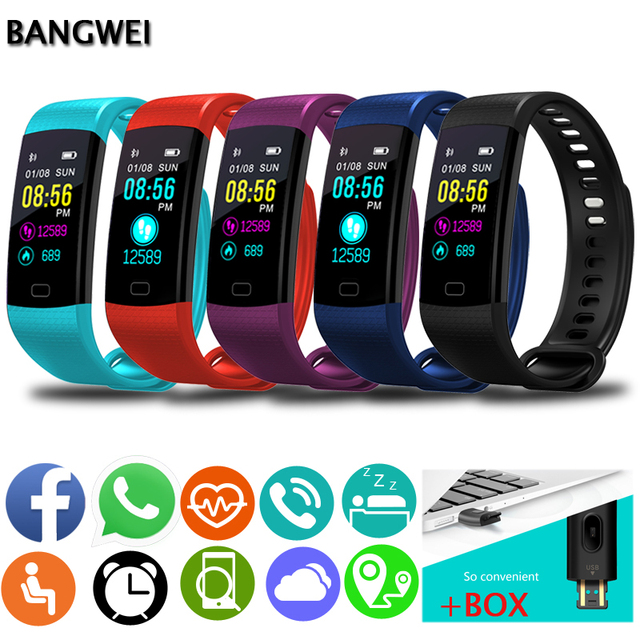 BANGWEI Smart Bracelet Wristwatch Men Sport Watch Fitness Pedometer Heart Rate Blood Pressure Monitor Smart Watch Smart Band+Box