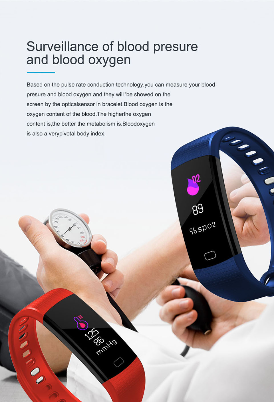 TimeOwner Smart Band Heart Rate Blood Pressure Monitor High Brightness Colorful Screen Smart Bracelet Wristband Notification