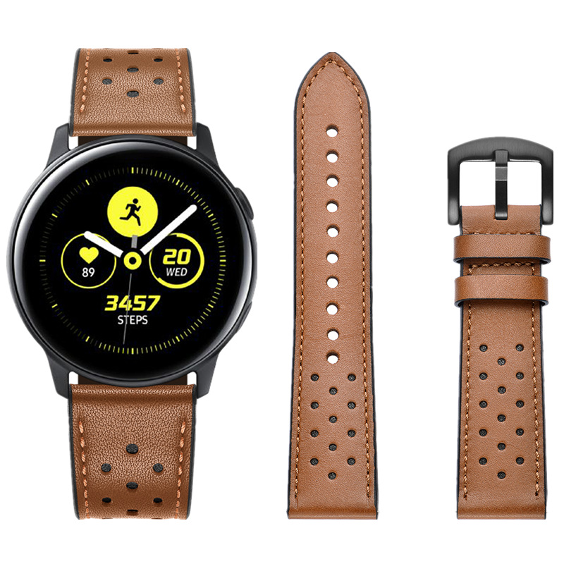 ASHEI 20mm Leather Watch Bands For Samsung Galaxy Watch 42mm Active S2 Classic Sport Band For Huami Amazfit Bip Strap Bracelet image