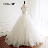 Rose Moda V Neck Princess Tulle Wedding Ball Gown 2018 Corset Puffy Wedding Dress with Train Real Photos