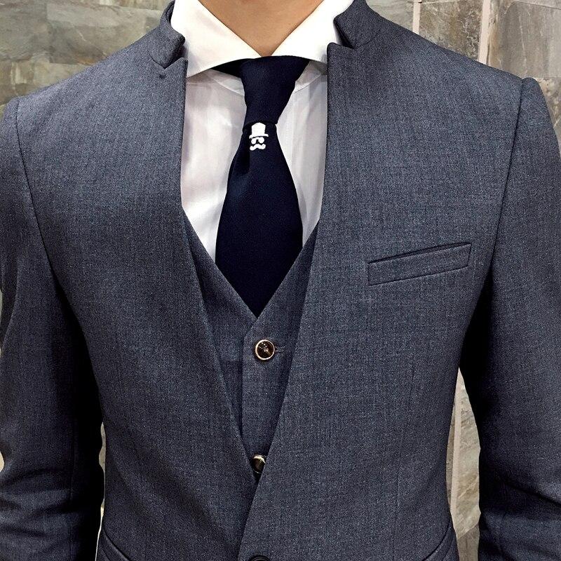 2017 nova korejska poročna obleka stojalo ovratnik suknjič moški - Moška oblačila - Fotografija 3