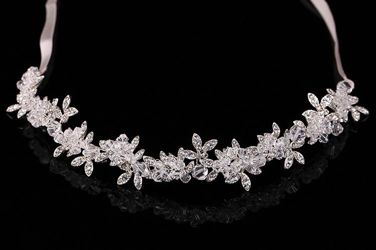 New Arrival Noble Crystal Rhinestone Bridal Headpieces Satin Ribbon Wedding Hair Accessories for Brides Tiaras Crowns Headbands 3