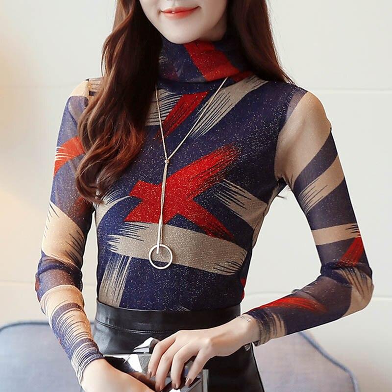 Blouses Women 2019 Autumn Winter Turtleneck Long Sleeve Velvet Slim Office Lady Thickening Warm Print Shirt Blouses Plus Size