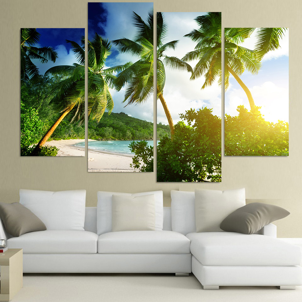 Palm Tree Decor For Living Room Popular Tropical Canvas Paintings Buy Cheap Tropical Canvas