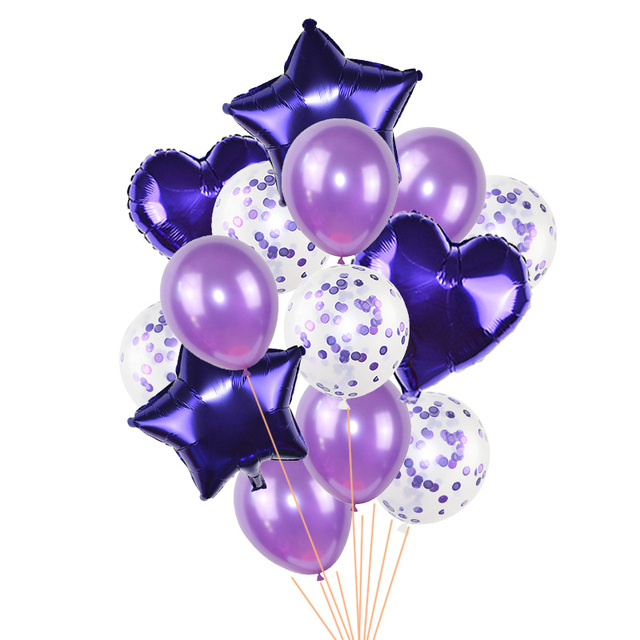 Ballons or Rose en Latex avec confettis, 14 pièces, Set, en forme de cœur, étoile, en aluminium, décoration de soirée danniversaire et de mariage, boule à Air gonflable