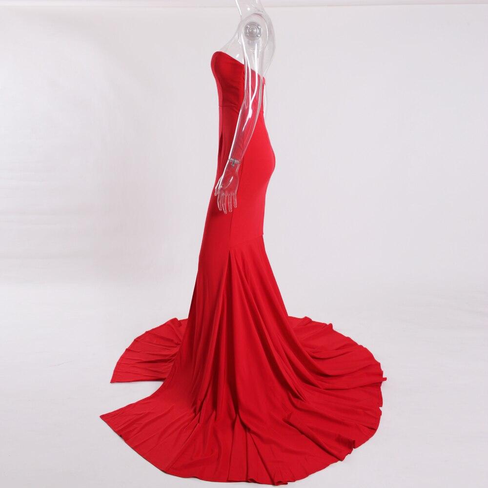 Strapless Split Front  Mermaid Sleeveless Elegant Dress 8