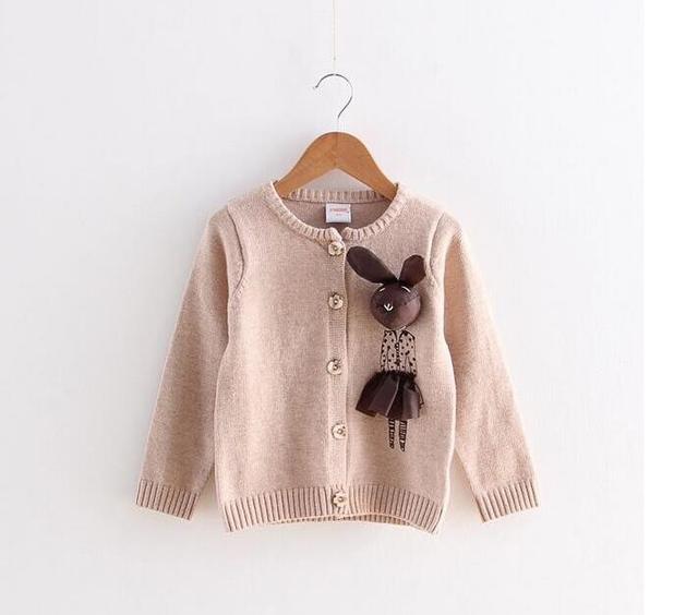 Y0828-41-149 Retail 2017 Primavera Niña Cardigan Solo Pecho Sólido Apliques 3D Conejo Kintting Suéter de la Muchacha ropa de Los Niños