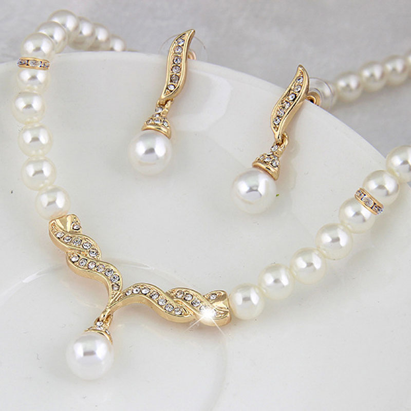 Creative Gold Color Necklace + 1 Pair Earrings Wedding Bridal Pearl Jewelry Set For Women Lady Female