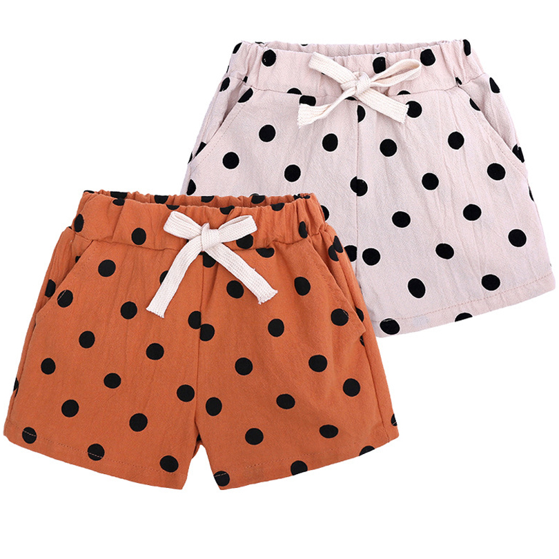 2019 New Toddler Baby Girls   Shorts   Summer Casual   Shorts   Elastic Middle Waist Solid Plaid Black Dots Print PP   Shorts   Outfit 1-6Y