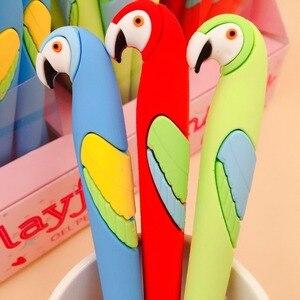 Image 5 - 48 unidades/pacote bonito dos desenhos animados papagaio animal silicone gel caneta criativa papelaria sinal caneta estudantes prêmio festa promoção presente caneta