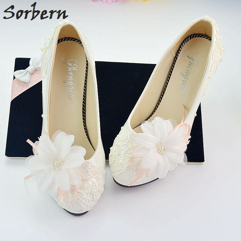 Sorbern Large Flower Wedding Shoes High Heels Bridal Pumps Stilettos Slip-On Bridesmaid Girls Party Shoes With Heels Lace Brides new arrival white wedding shoes pearl lace bridal bridesmaid shoes high heels shoes dance shoes women pumps free shipping party