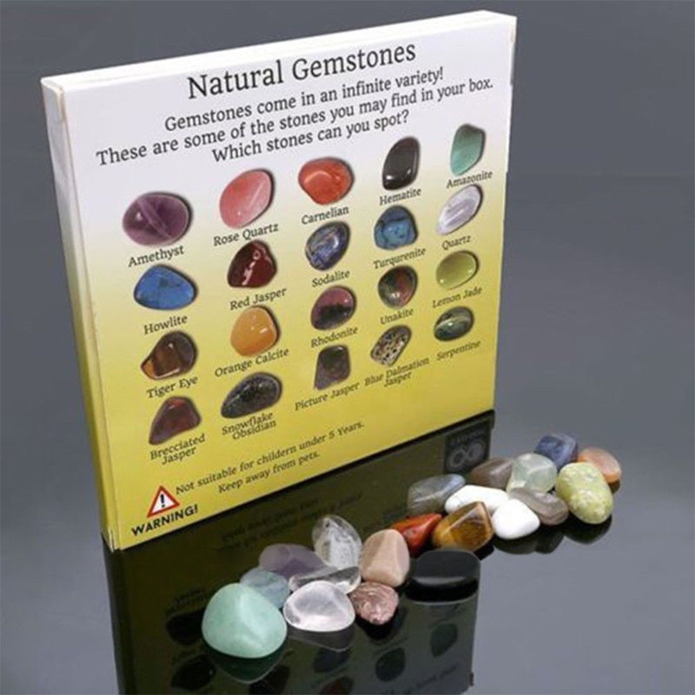 20pcs Natural Crystal Gemstone Polished Healing Chakra Stone Collection Popular Stones Decoration Crafts(China)