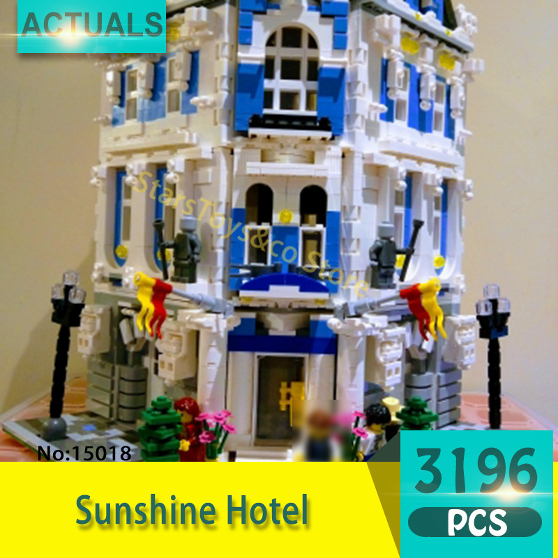 Lepin 15018 3196Pcs Street View series Sunshine Hotel Model Building Blocks Set  Bricks Toys For Children Gift laete 15018