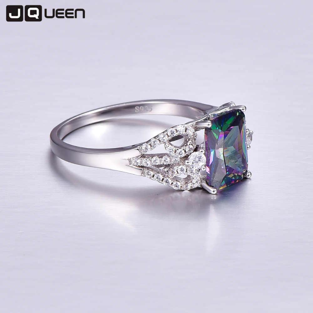 Heißer Smaragd Cut 3ct Natürliche Mystic Feuer Regenbogen Topaz Engagement Hochzeit Ring Echtem 925 Sterling Silber Ringe für Frauen
