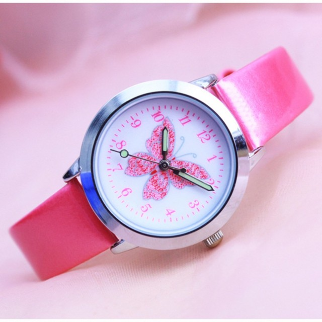 Fashion 3D Colorful butterfly Watches Children Kids girls gift Watch Casual Quar
