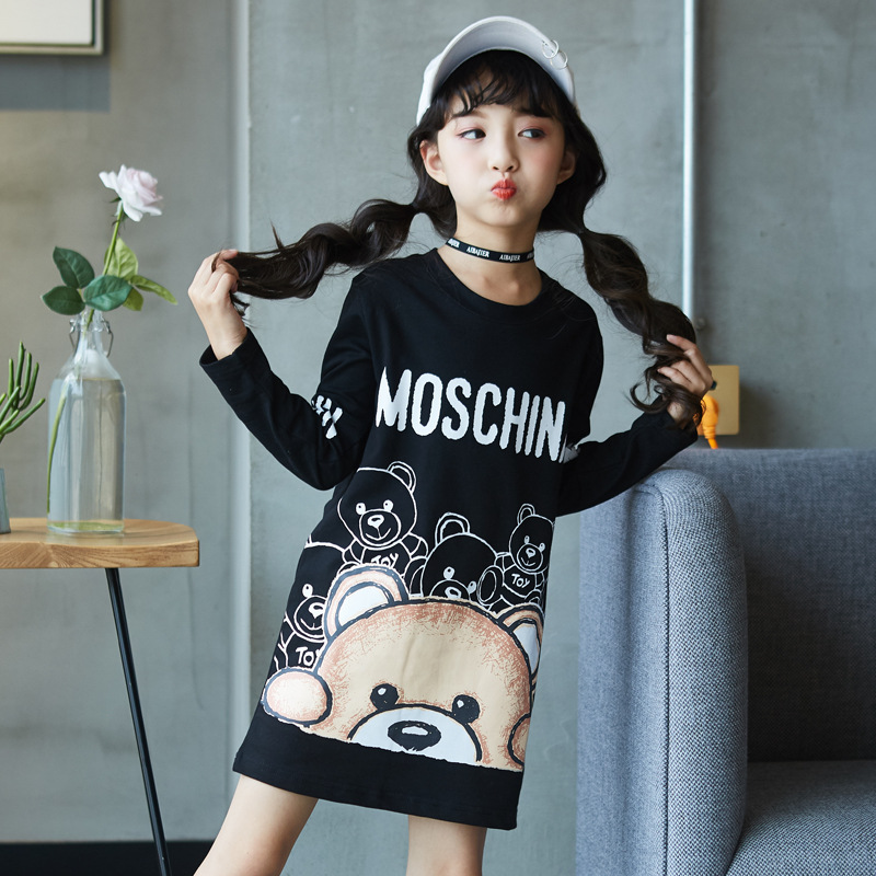 Kids Dress For Girls Long Cartoon Bear Printed Teenage Girls Party Dress Spring Autumn Children Clothes 4 6 8 9 10 12 14 Years Одежда
