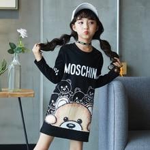 Kids Dress For Girls Long Cartoon Bear Printed Teenage Girls Party Dress Spring Autumn Children Clothes 4 6 8 9 10 12 14 Years