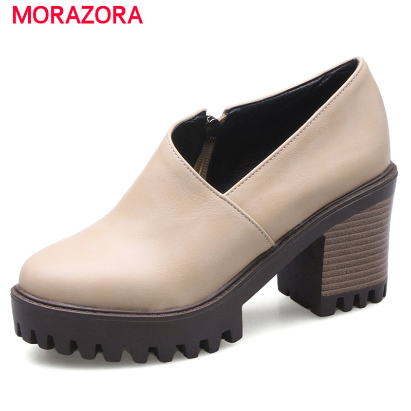 MORAZORA Round toe square high heels shoes 8cm big size 34-43 women pumps party work shoes fashion comfortable spring morazora big size 34 43 high heels shoes spring autumn women pumps party wedding shoes bride two colors solid fashion europe