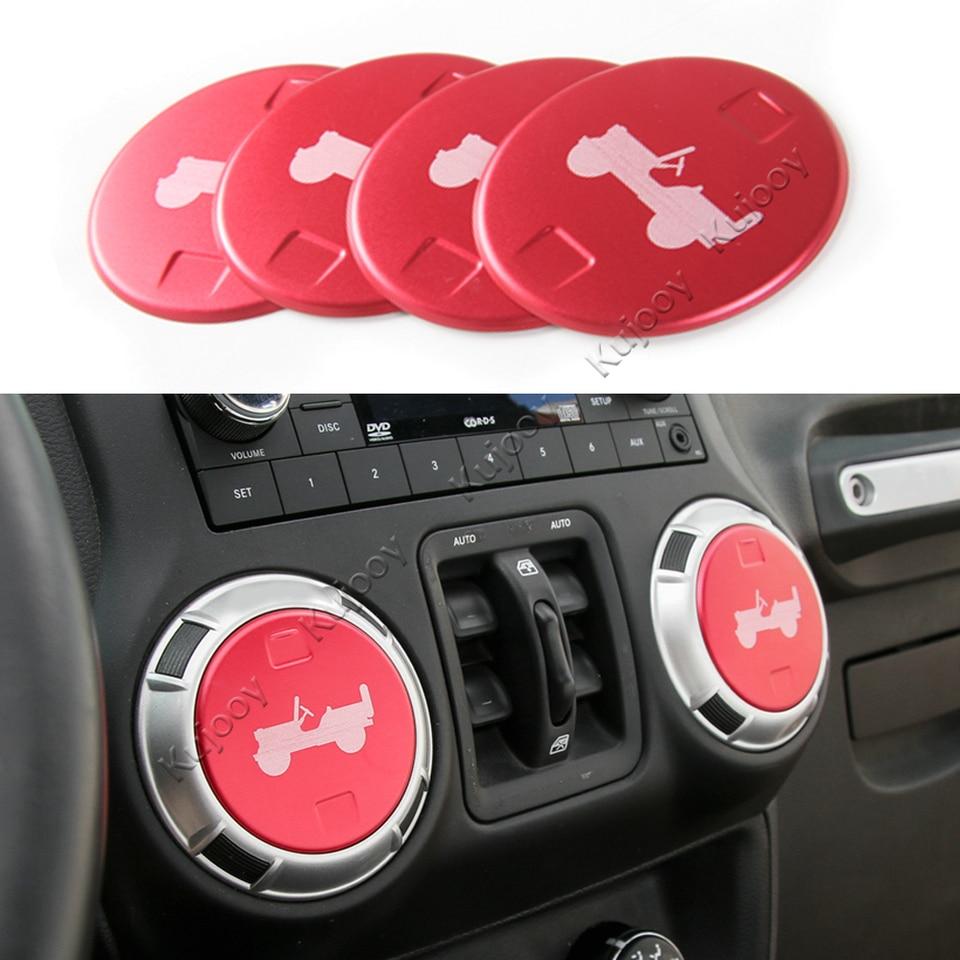 Decor Air Vent Trim Cover Replacement Accessories Car Interior 4Pcs Red