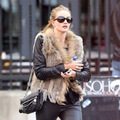 18 Colors New Real ladies Genuine Knitted Rabbit Fur Vest With Raccoon Fur Trimming Waistcoat Winter Fur Jacket eastern fur