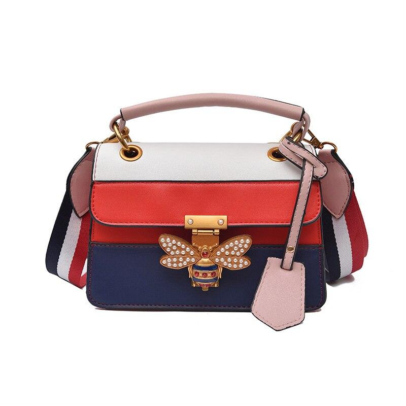 Женская сумка через плечо, разноцветная сумка мессенджер с принтом пчелы, роскошный дизайн Сумки с ручками      АлиЭкспресс
