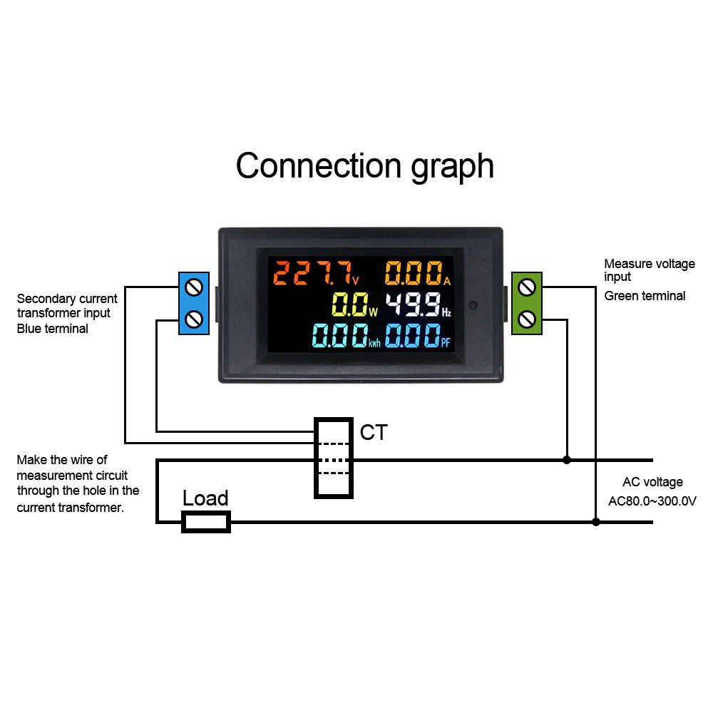 التيار المتناوب الرقمي الفولتميتر التيار المتناوب 110 فولت 220 فولت 100A HD شاشة ملونة 180 درجة لا تشوبه شائبة LED التيار المتناوب فولت أمبير واط الطاقة PF متر
