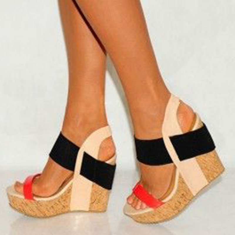 464b2a779d SHOFOO shoes.Elegant fashion free shipping, multi color combination  leather, 15.5 cm wedges