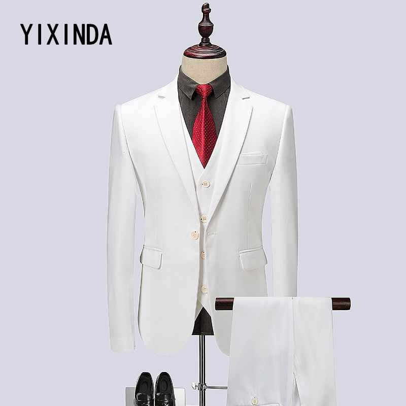 YIXIND Brand (Jacket+Vest+Pants) High-quality 2018 new mens suit. Wedding dress business suit business casual suit size M-6XL