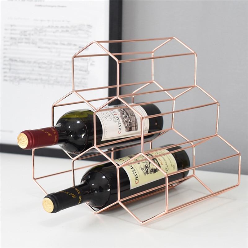 Ordentlich Geometrische Wein Rack Wein Schrank Display Lagerung Eisen Kunsthandwerk Wein Halter Wohnkultur L3133 Phantasie Farben Statuen & Skulpturen