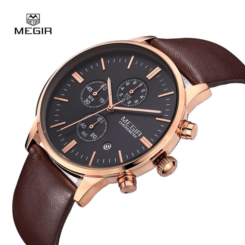 Prix pour Megir Montres Hommes Relogio Masculino De Luxe Top Marque De Mode Montres pour Hommes Horloge Bracelet En Cuir Homme Montre À Quartz