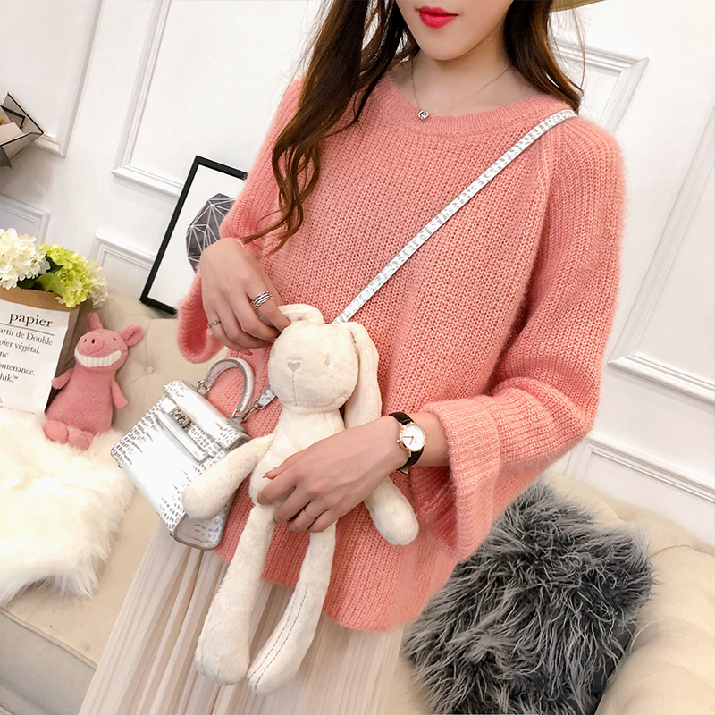2018 new Maternity Autumn winter Long sleeve sweater women o-neck Tide solid color loose sweaters N142 stylish round neck long sleeve solid color slimming sweater for women