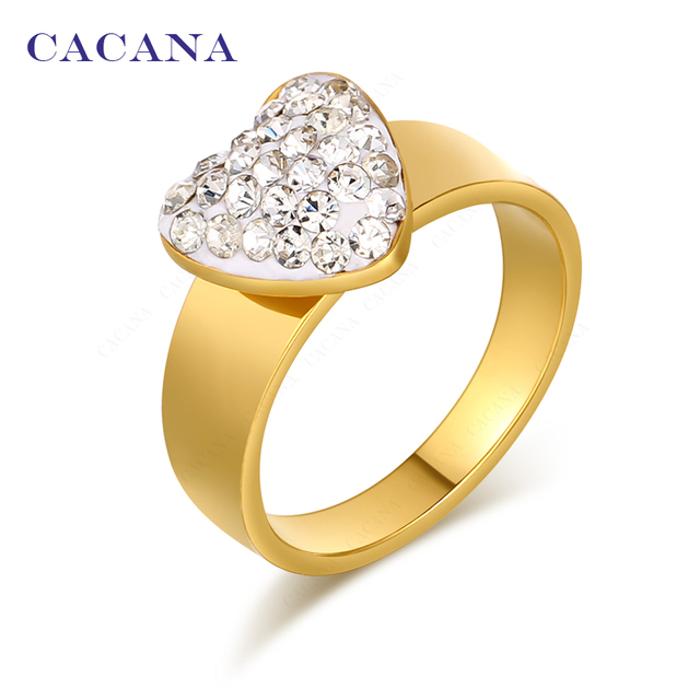 CACANA Titanium Stainless Steel Rings For Women Fashion Jewelry Wholesale NO.R12