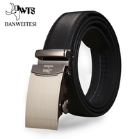 DWTS 2016 Mens Fashion Genuine Leather Famous Brand Men Belt Silver Gold Automatic Buckle Luxury