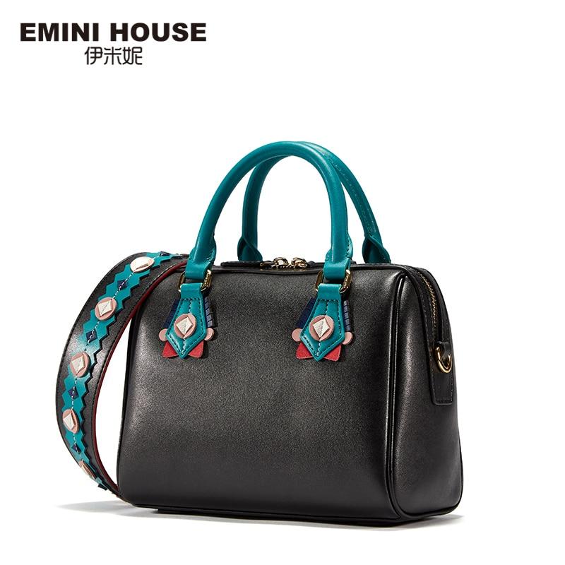 EMINI HOUSE Indian Style Boston Bag Split Leather Women Messenger Bag Luxury Handbags Women Bags Designer Shoulder Bags