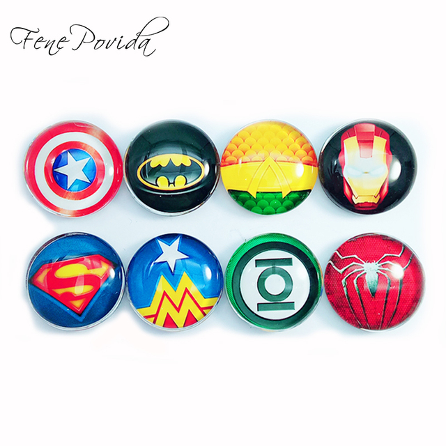 1piece 25mm Abstract Super Hero Symbol Fridge Magnets Crystal Glass