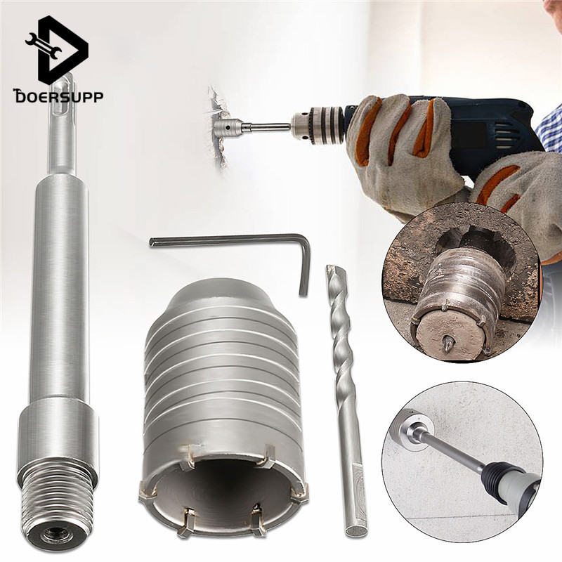 1Set 50mm SDS Plus Shank Concrete Cement Stone Wall Hole Saw Drill Bit With 200mm Connecting Rod Wrench stones bricks concrete cement stone 50mm wall hole saw drill bit 200mm round rod